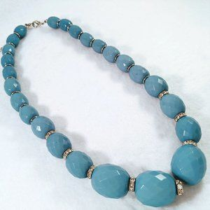 Jewelry - Chunky Blue Beaded Necklace with Rhinestones